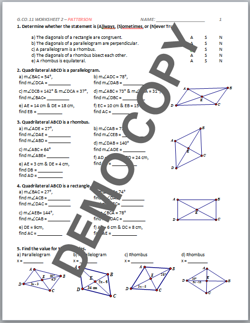 Properties Of Quadrilaterals Chart Answers Pictures to Pin on – Properties of Quadrilaterals Worksheet