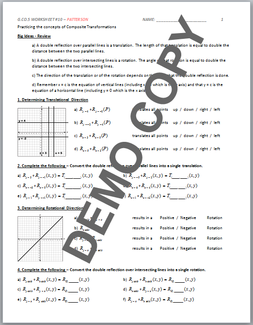 geometry transformation composition worksheet answer key high school geometry common core g co. Black Bedroom Furniture Sets. Home Design Ideas