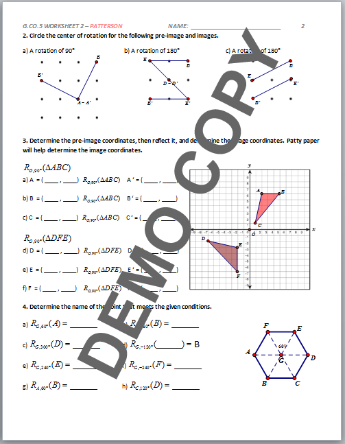 geometry rotation worksheet 1 1000 images about math rotations reflections translations 1d. Black Bedroom Furniture Sets. Home Design Ideas