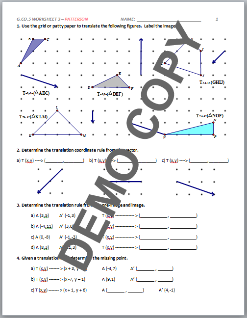 geometry transformation composition worksheet answers high school geometry common core g co a. Black Bedroom Furniture Sets. Home Design Ideas