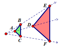 Write a congruence statement for the triangles that change