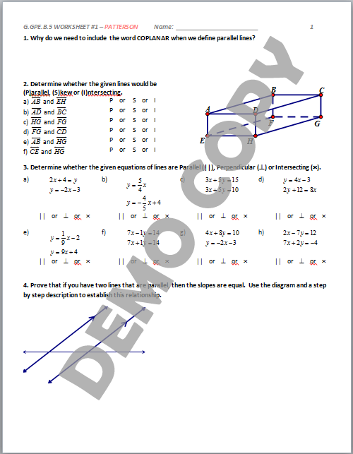 ... GPE.B.5 - Parallel & Perpendicular Lines - Activities - Patterson