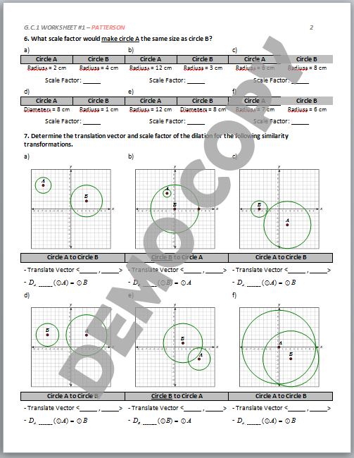 high school geometry common core g c a 1 circle similarity worksheets patterson. Black Bedroom Furniture Sets. Home Design Ideas