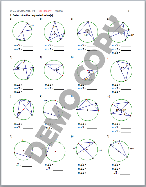 Unit 10 circles homework 4 inscribed angles answer key