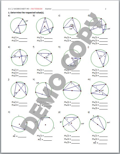 Unit 10 circles homework 4 inscribed angles answer key
