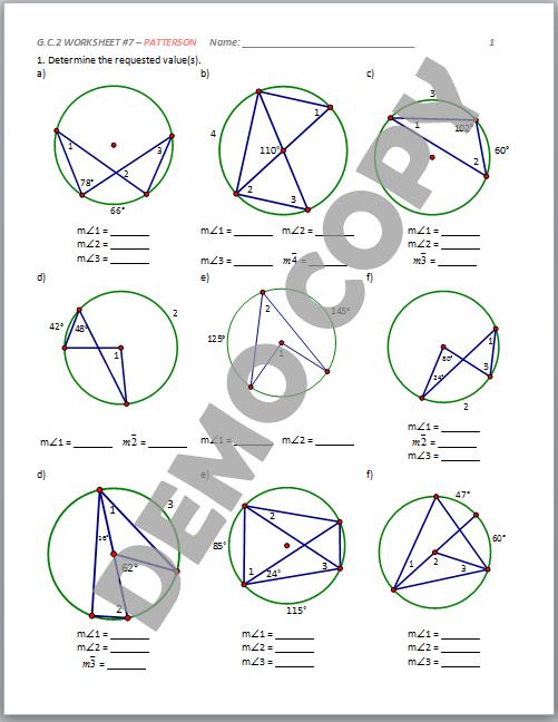 ... School Geometry Common Core G.C.A.2 - Circle Properties - Patterson