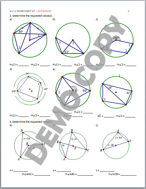 Central and inscribed angles worksheet kuta